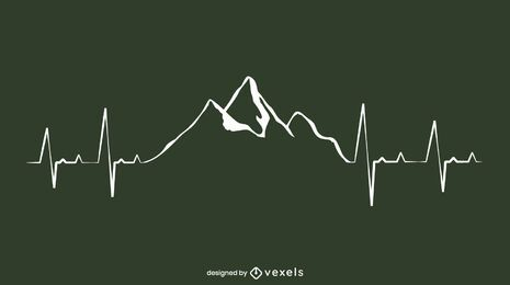 Mountain Heartbeat Line Design