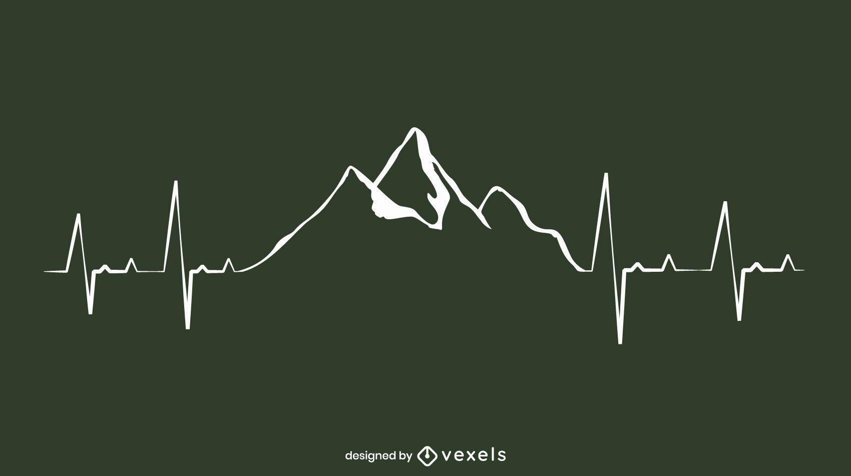Design da linha de pulsação da montanha
