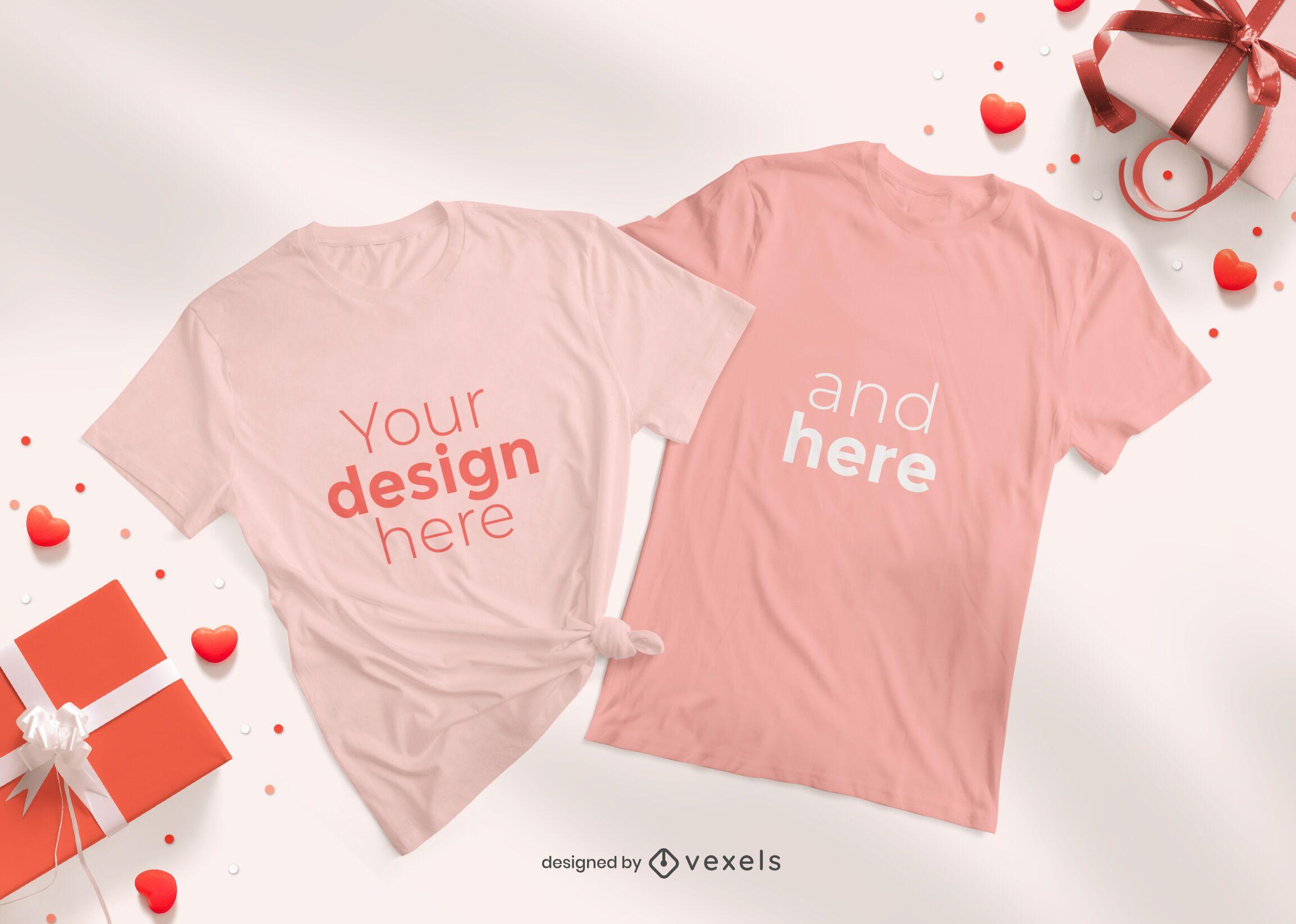 Composição de maquete de camiseta para o dia dos namorados