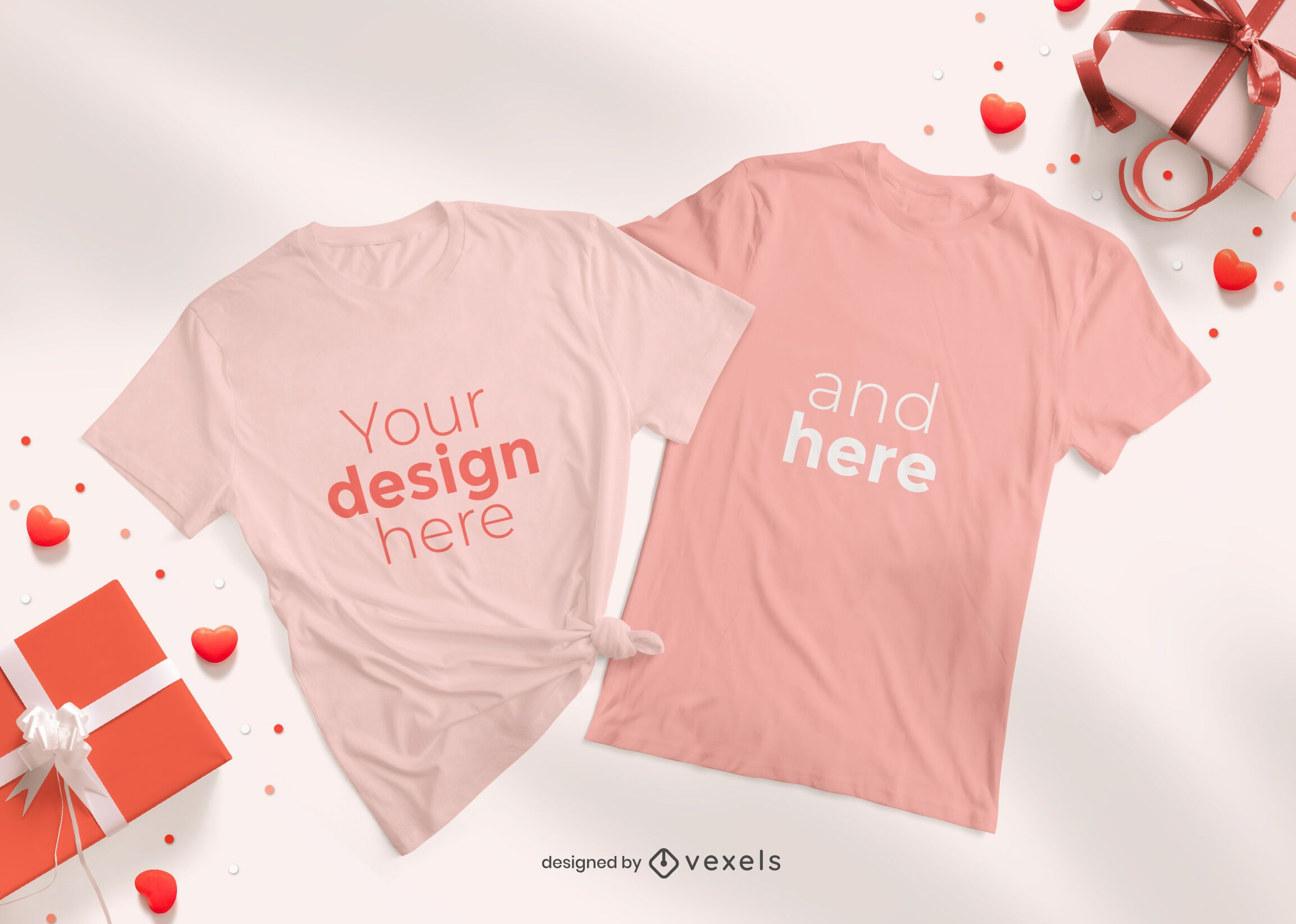 Valentine's day t-shirt mockup composition
