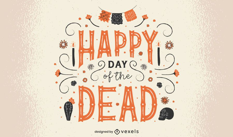 Happy day of the dead lettering