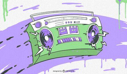 Ilustração colorida de hip hop Boombox