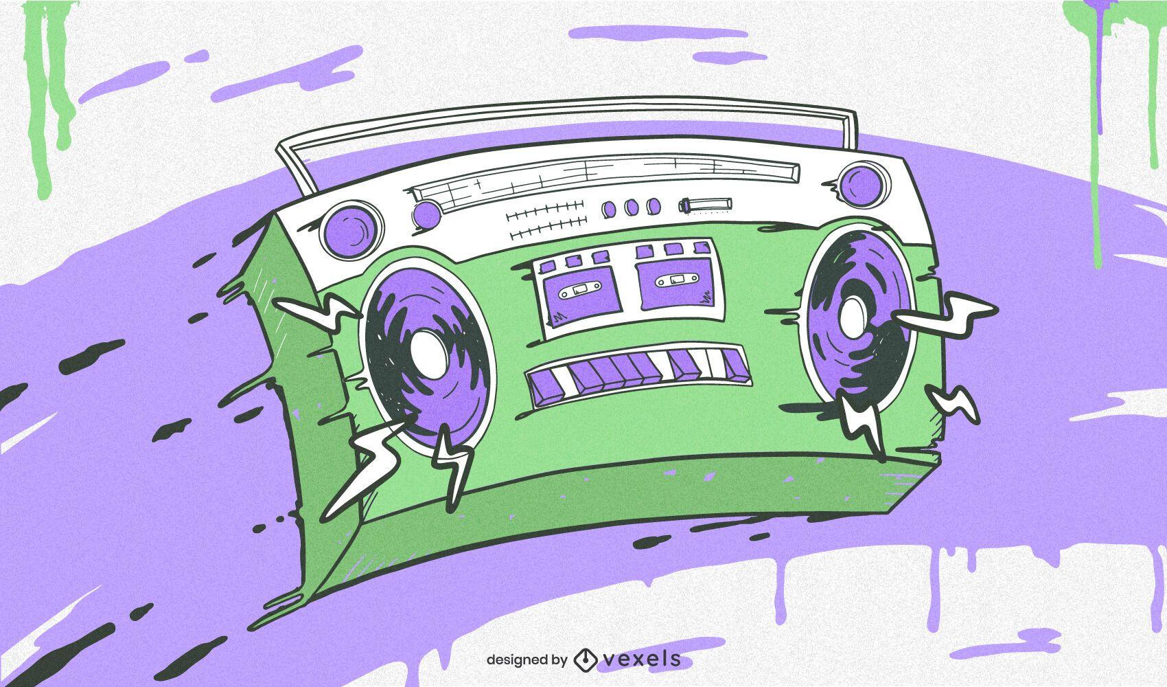Ilustración colorida de Boombox de Hip Hop