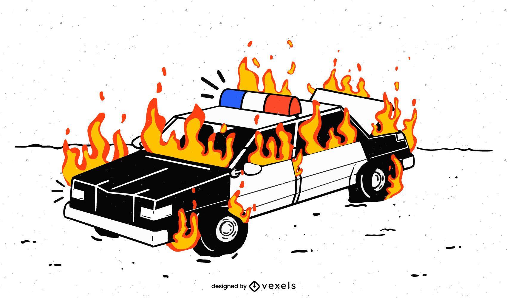 Coche de policía en llamas