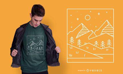 Diseño de camiseta de paisaje geométrico.