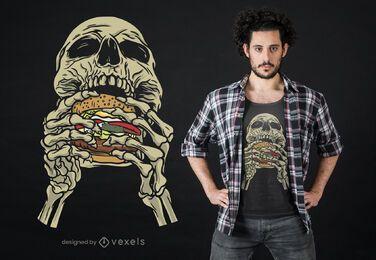 Diseño de camiseta calavera hamburguesa