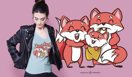 Design fofo de t-shirt da família Fox