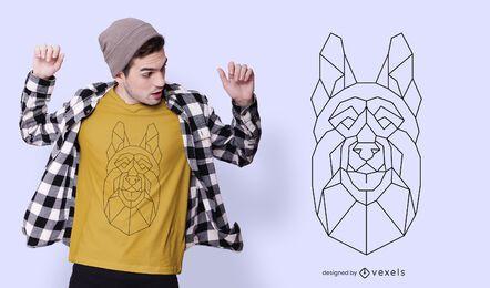 Diseño de camiseta poligonal de pastor alemán.