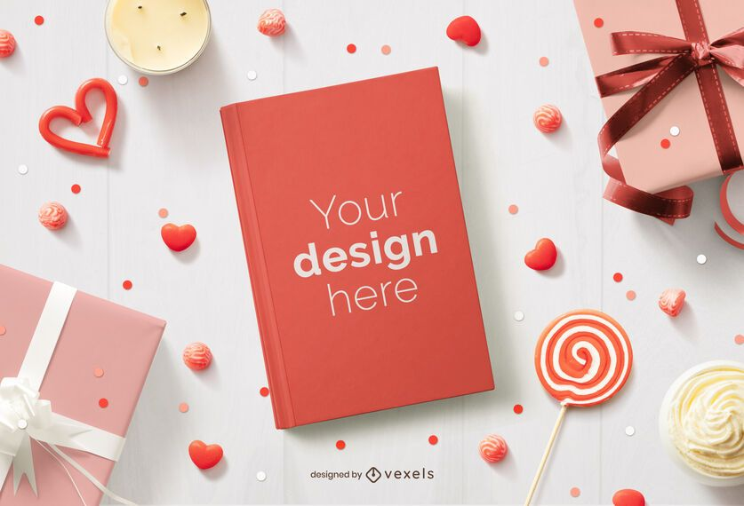 Valentine's day book cover mockup composition