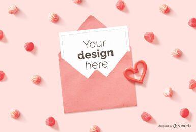 Composição de maquete de envelope de cartão de dia dos namorados