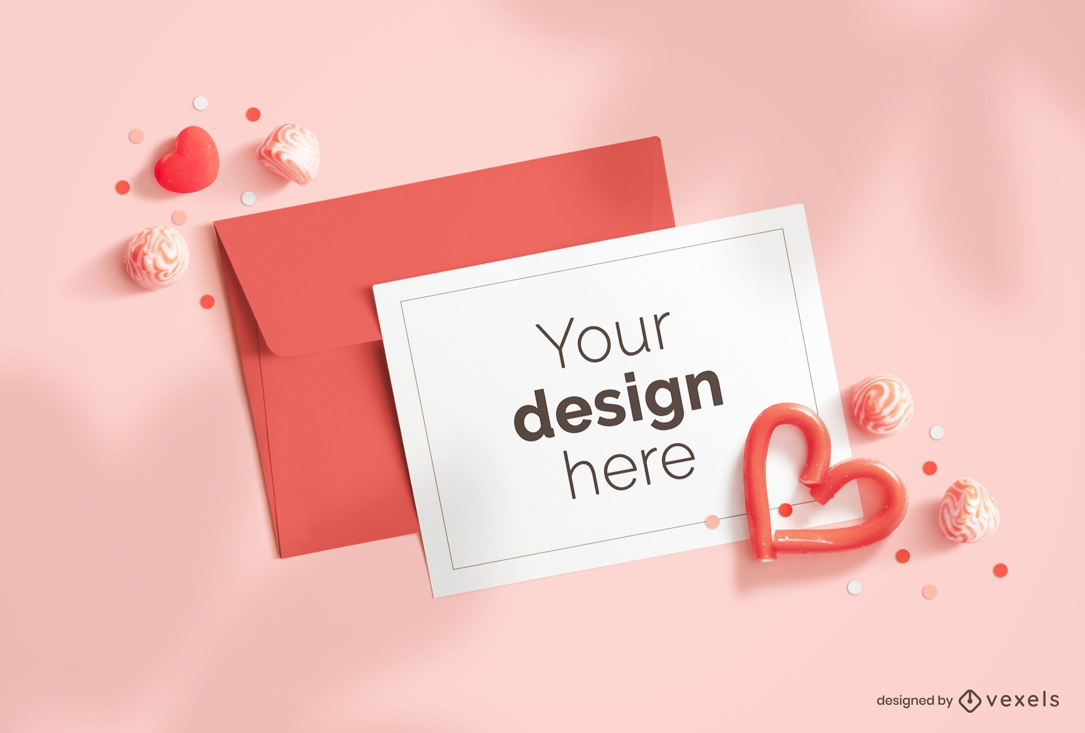 Valentine's day greeting card mockup composition