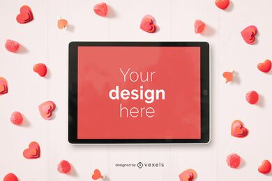 Valentine's day ipad mockup