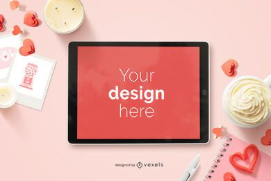 Valentine's day ipad mockup composition
