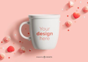 Valentine's day mug mockup composition
