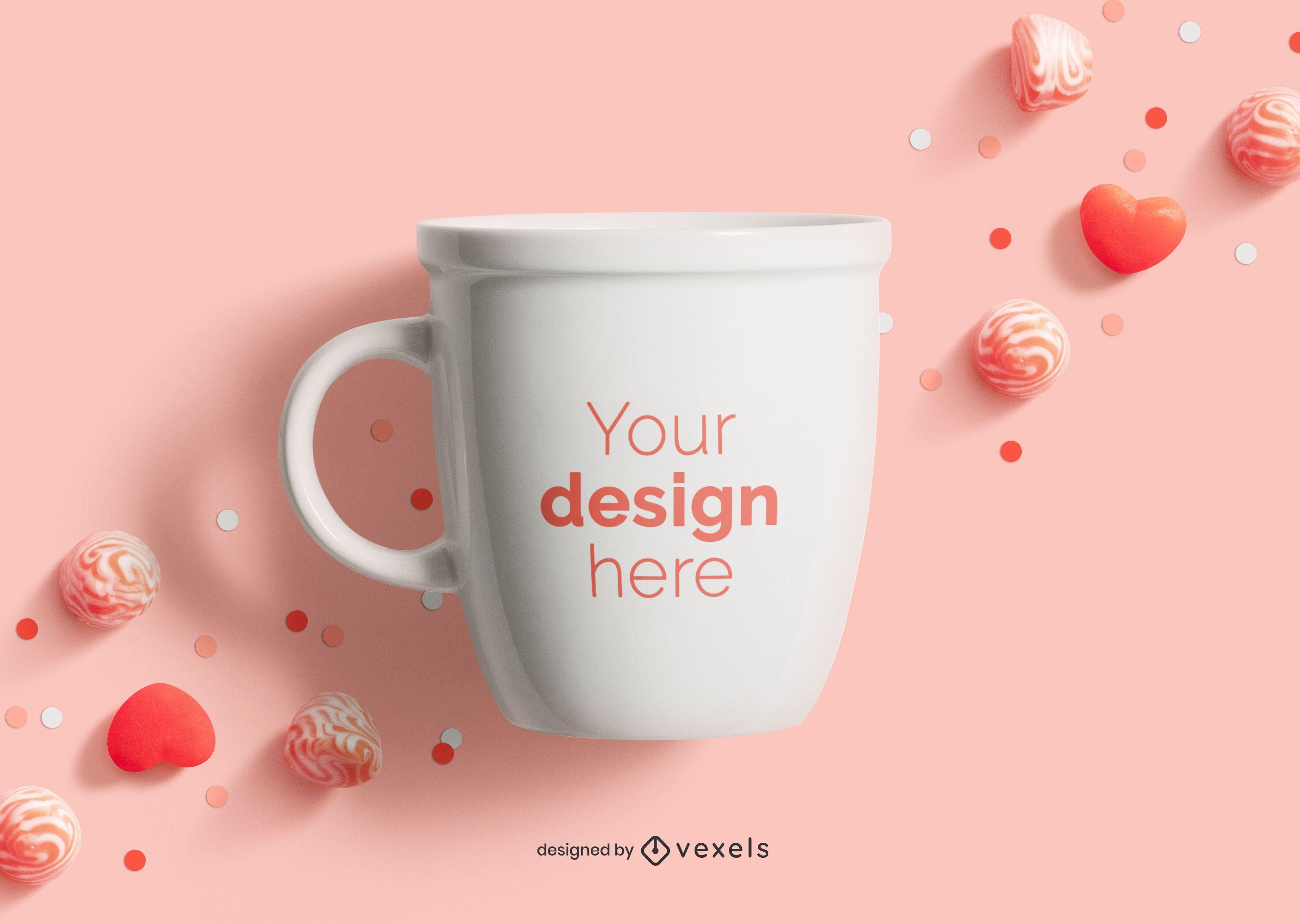 Valentine's day mug mockup composition