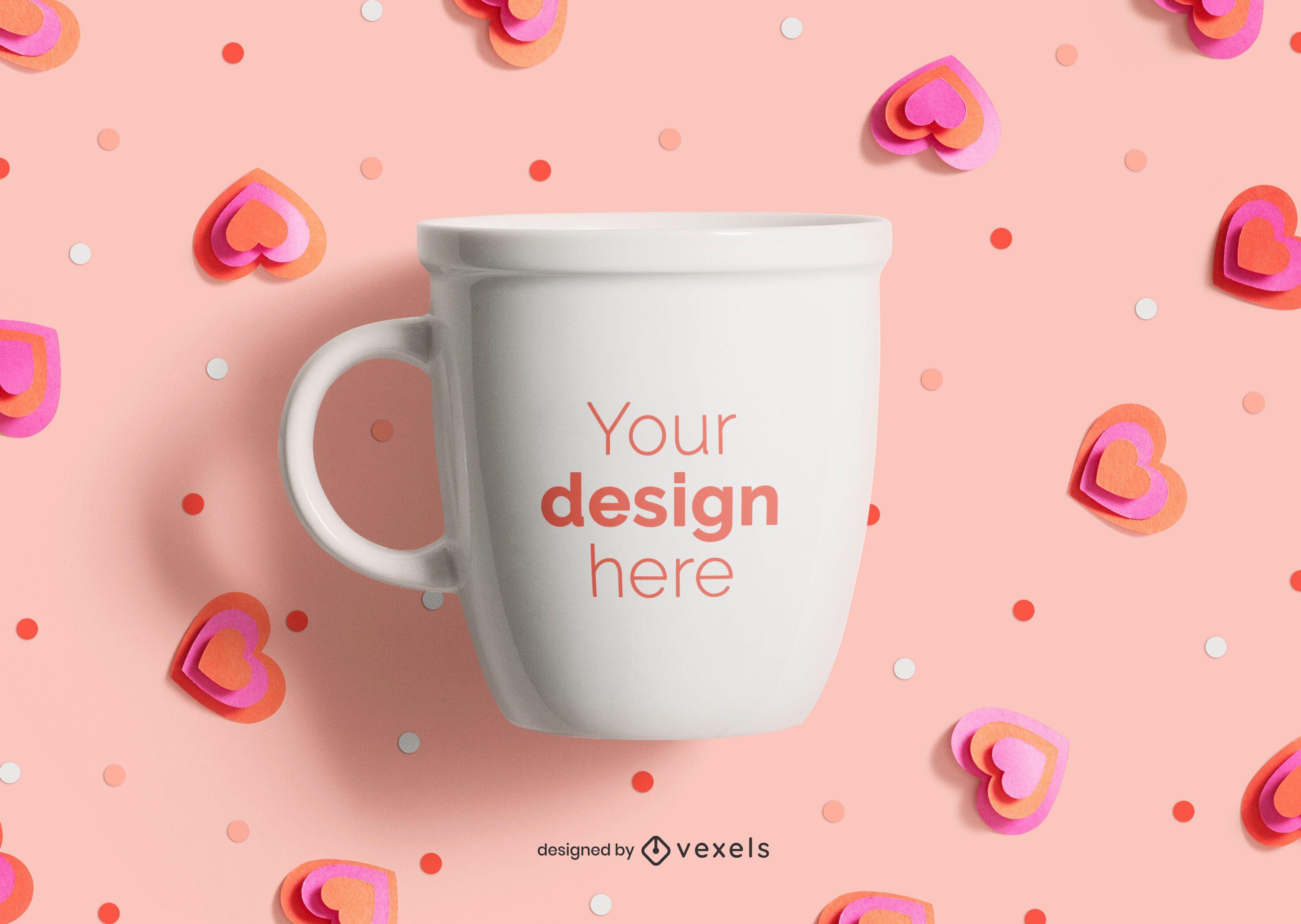 Maqueta de taza de San Valentín