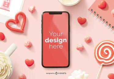 Composição da maquete do iphone do dia dos namorados