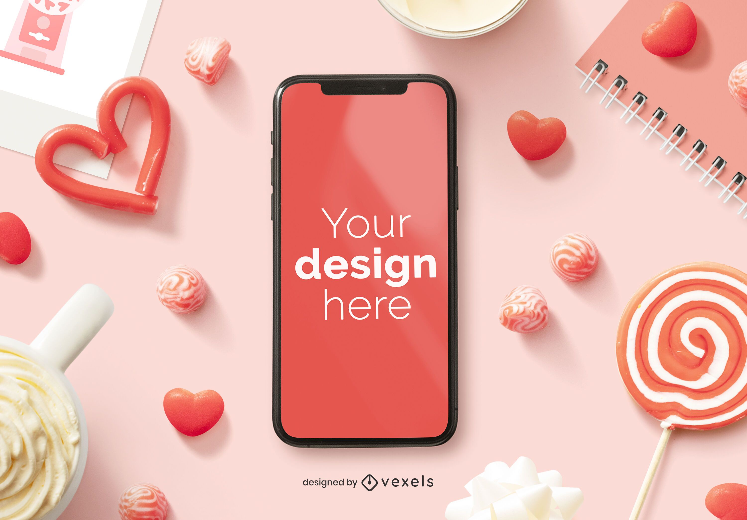 Valentine's day iphone mockup composition
