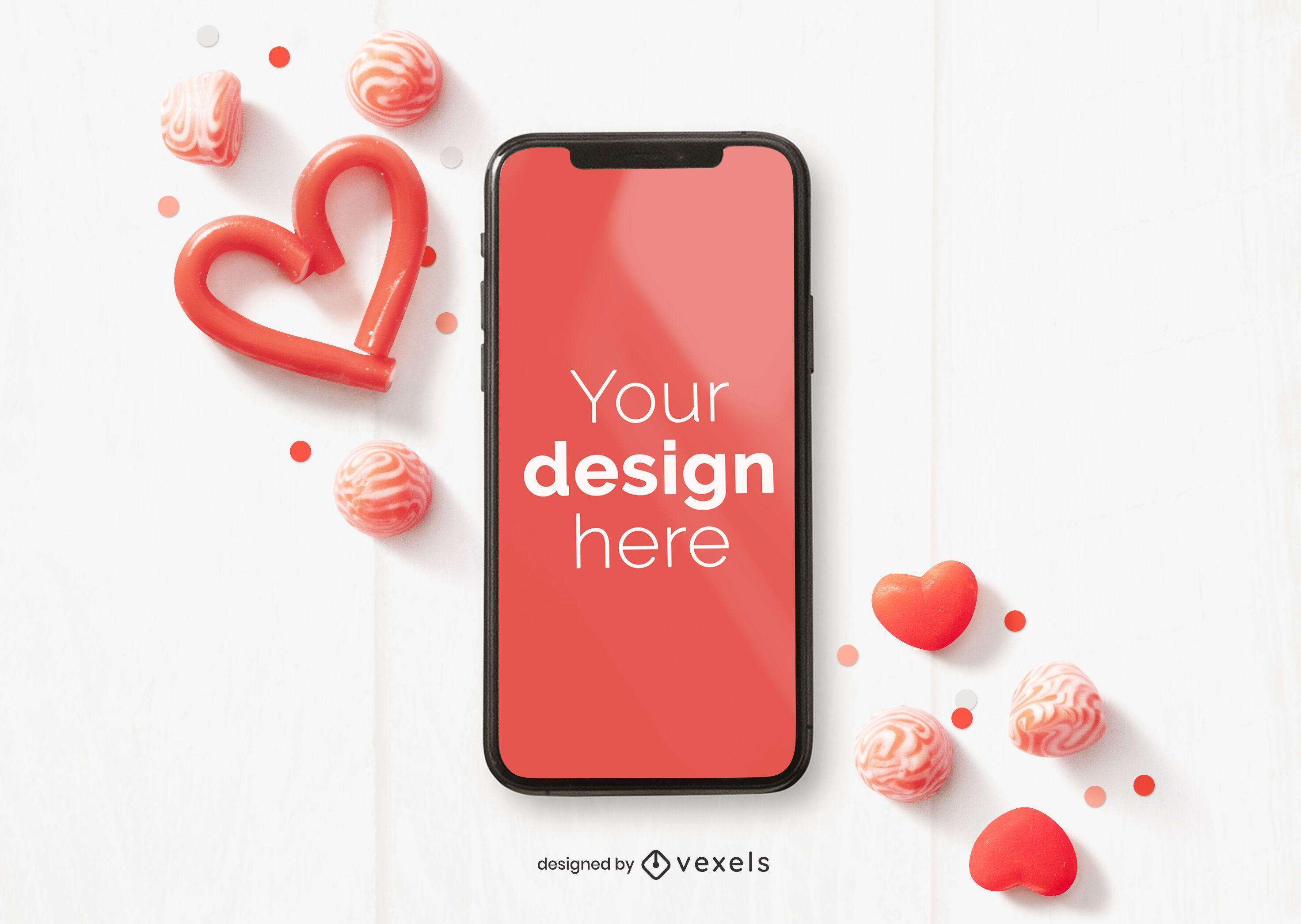 Maqueta de iphone de san valentín
