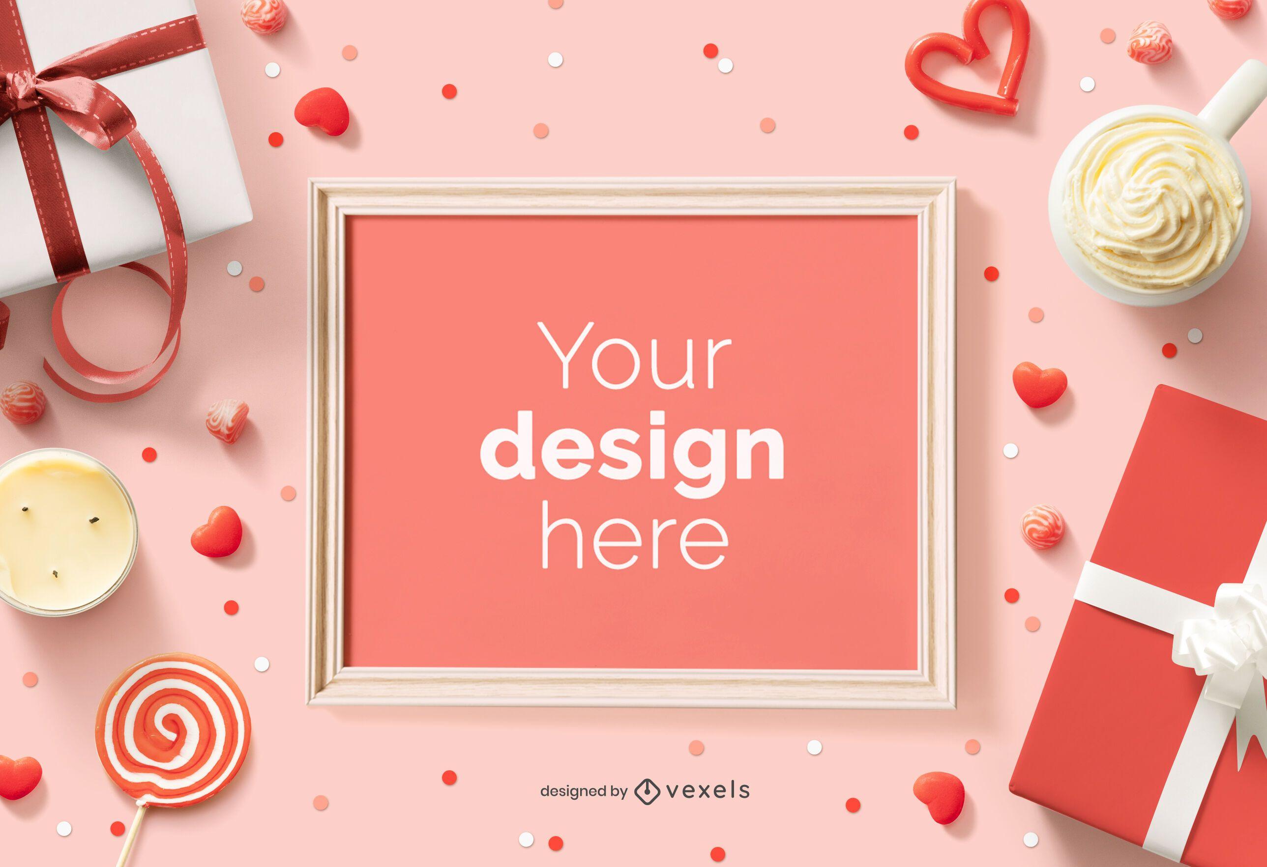 Valentine's day frame mockup composition