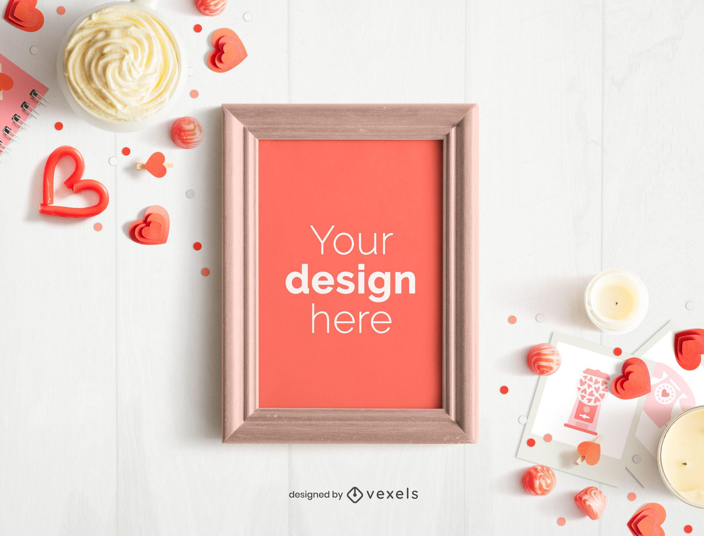 Valentine's day frame poster mockup