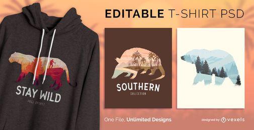 Diseño de camiseta de vida salvaje psd