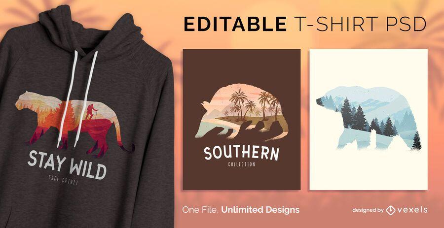 Wild life t-shirt design psd