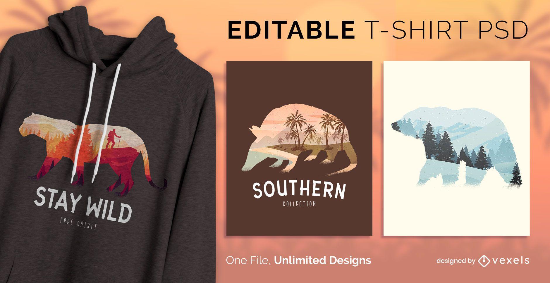 Design de t-shirt da vida selvagem psd
