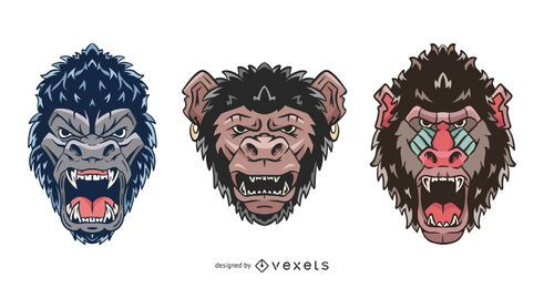 Angry Primate Face Illustration Set