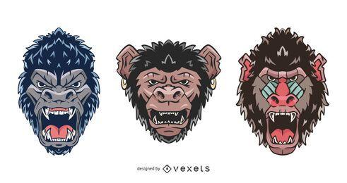 Conjunto de ilustração de rosto de primata zangado