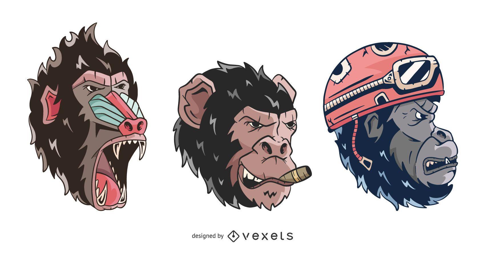 Pack de caras de perfil de mono enojado