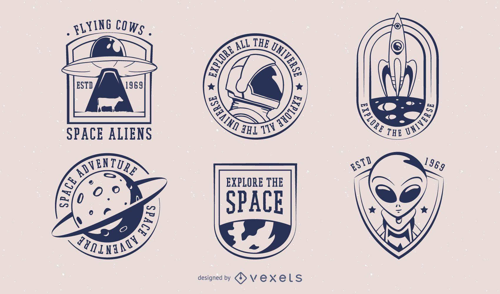 Paquete de diseño de insignia espacial