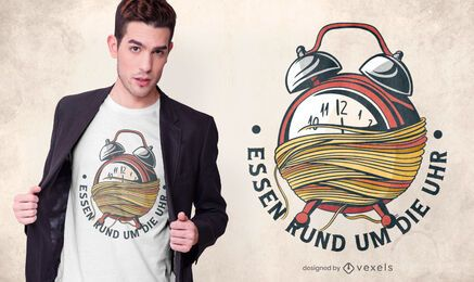 Diseño de camiseta alemana Spaghetti Clock