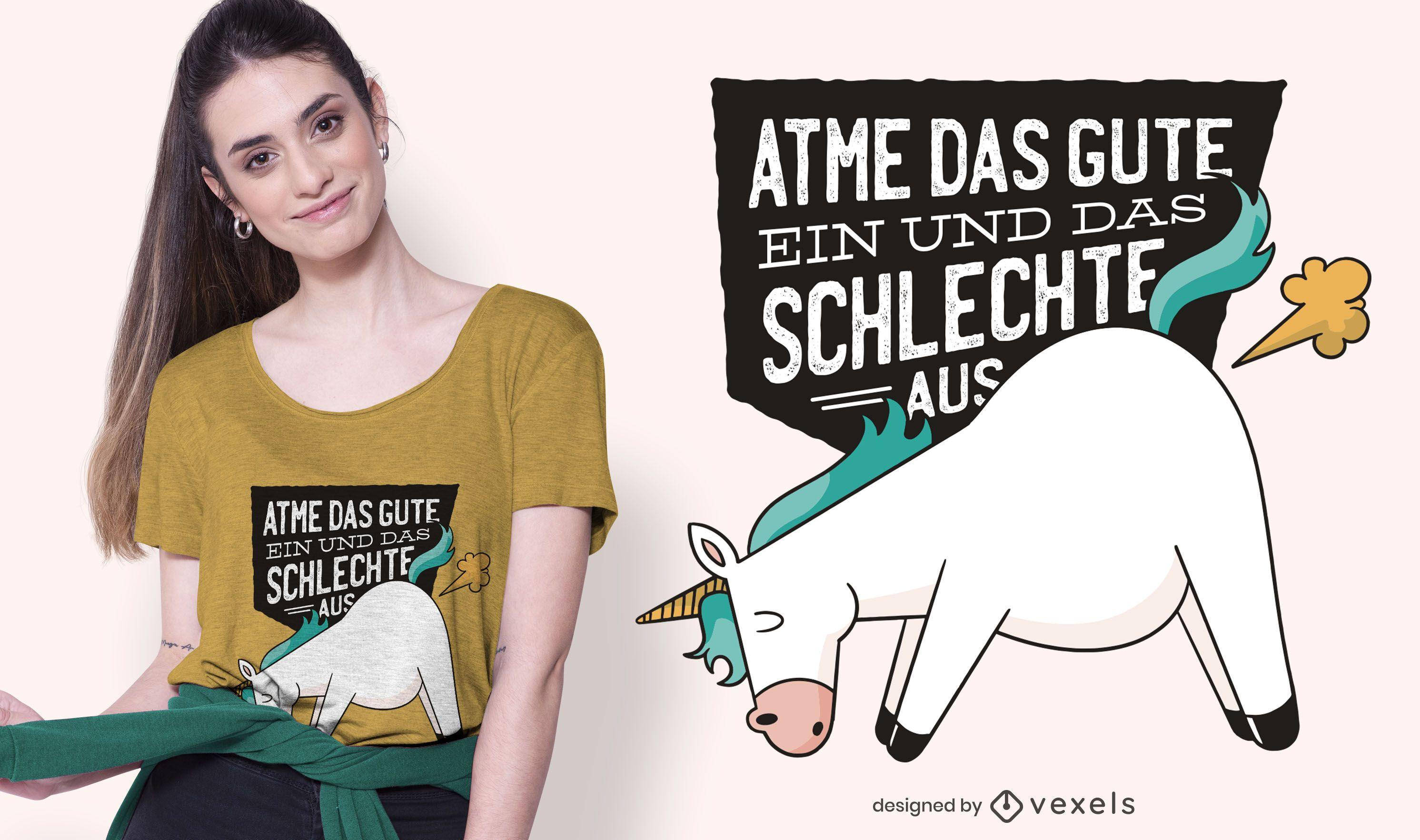 Diseño de camiseta alemana Unicorn Farts