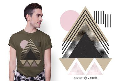 Design de camiseta em pirâmide geométrica abstrata