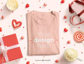 Valentine's day folded t-shirt mockup composition