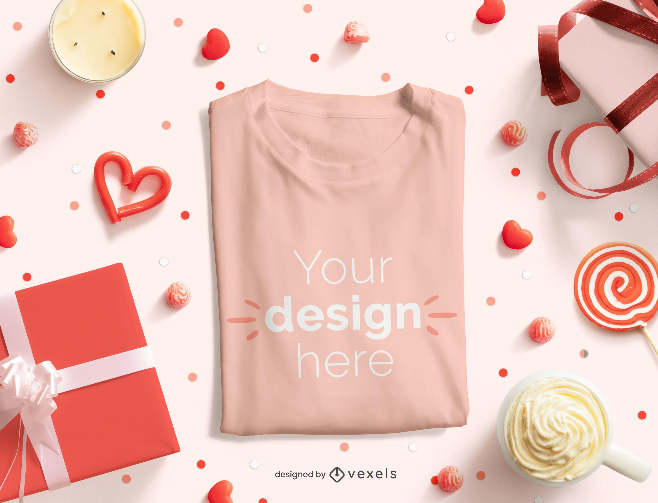 Valentine's day folded t-shirt mockup composition