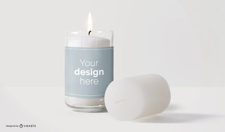 Design de maquete de rótulo de velas