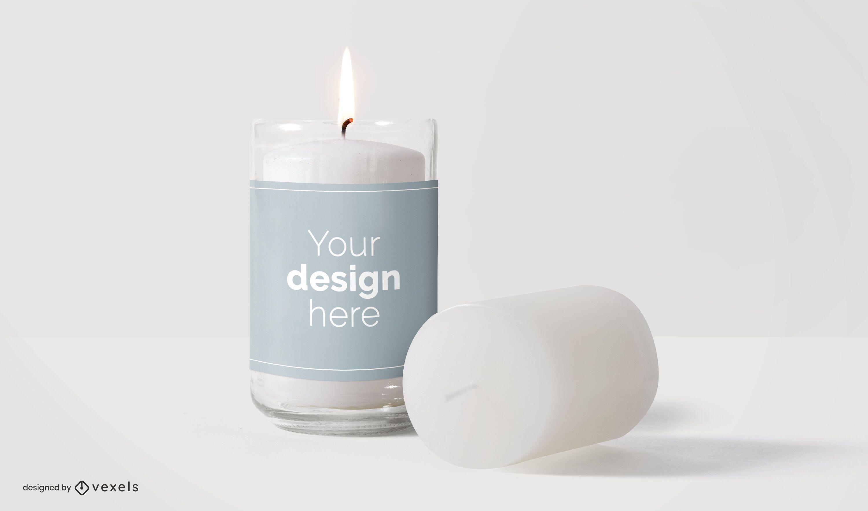 Candles label mockup design