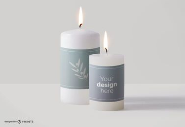 Candle labels mockup design