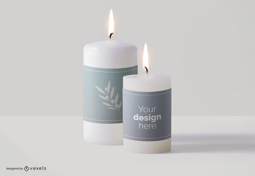 Diseño de maqueta de etiquetas de velas