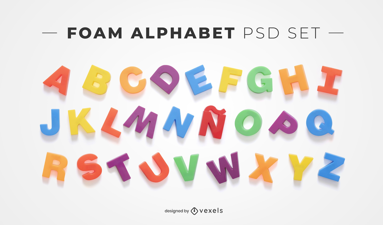Elementos psd do alfabeto de espuma para maquetes