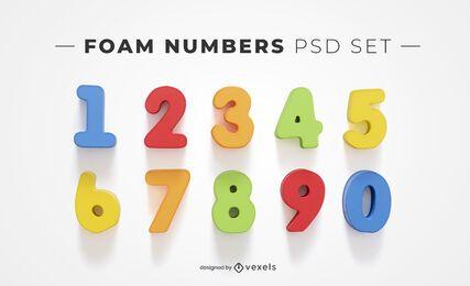 Elementos de psd de números de espuma para maquetes