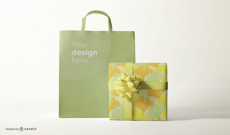Bolsa e design de maquete de presente