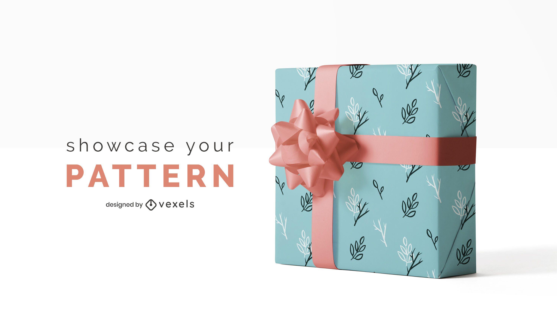 Diseño de maqueta de patrón de papel de regalo