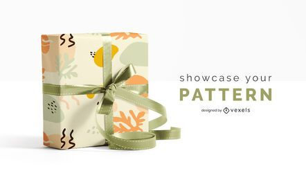 Gift wrap pattern mockup design
