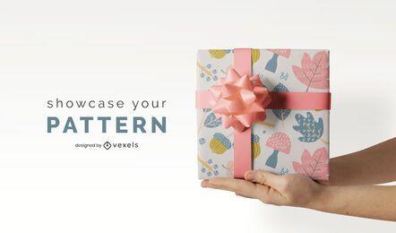 Paper gift wrap mockup design