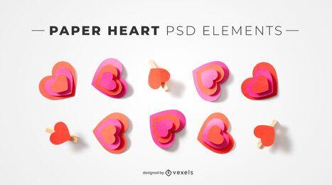 Elementos psd de coração de papel para maquetes