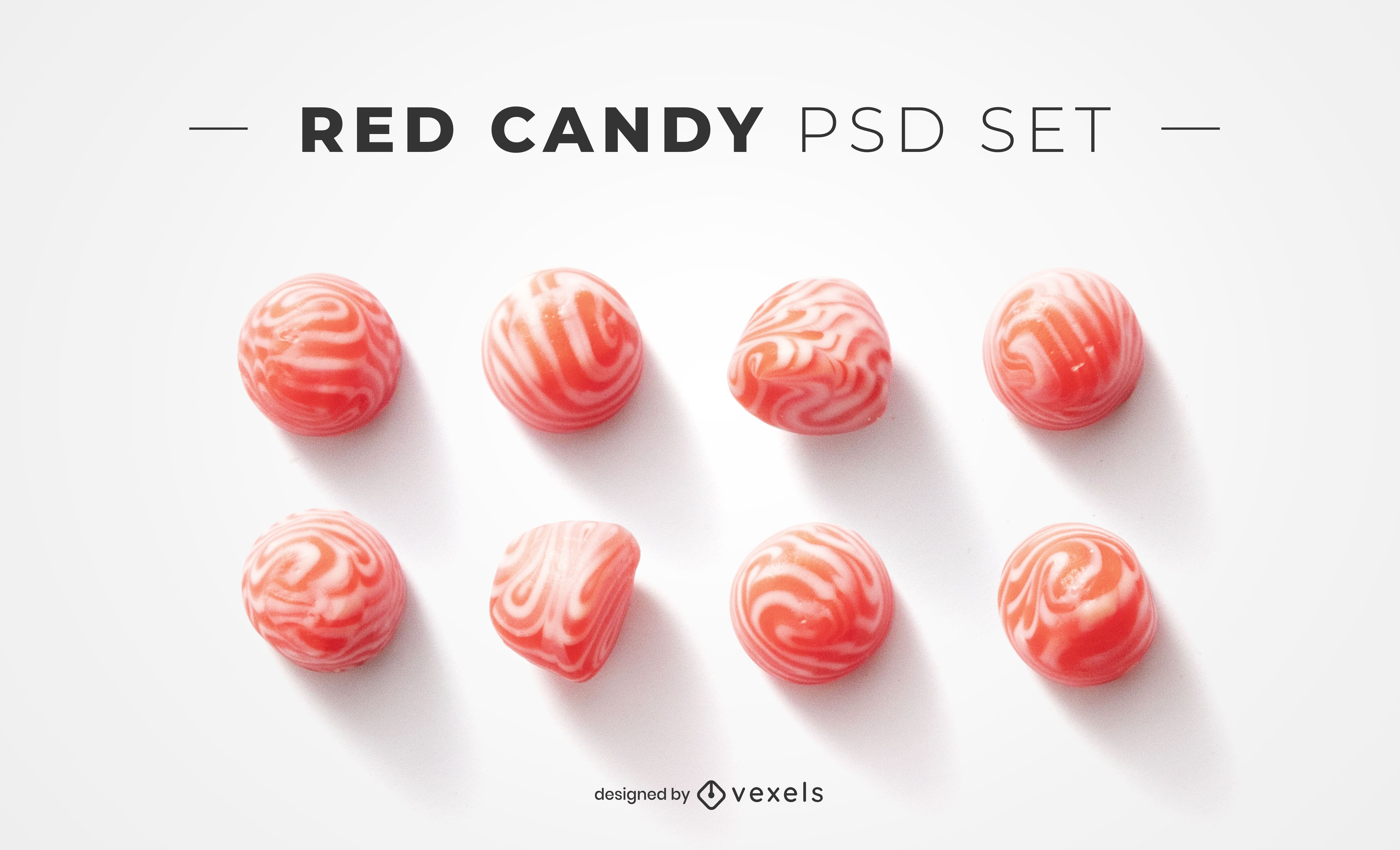 Red candies psd elements for mockups