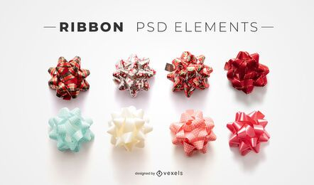 Ribbons psd elements for mockups
